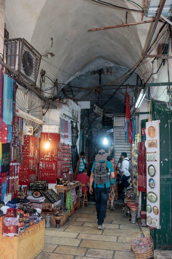 Vie silenziose nella vecchia città di Gerusalemme, Israele Mercato della via dell'ha Gai del batuffolo di EL immagini stock libere da diritti