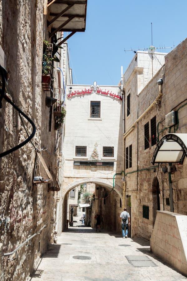 Vie silenziose nella vecchia città di Gerusalemme, Israele Tramite via di Delorosa immagine stock