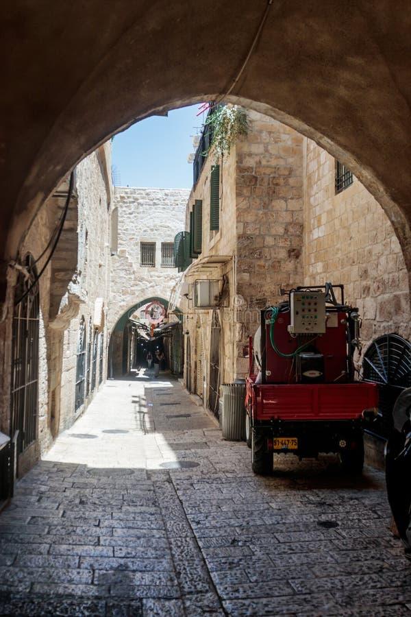 Vie silenziose nella vecchia città di Gerusalemme, Israele Via di Misgav Ladach fotografia stock