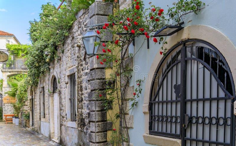 Vie strette pittoresche di vecchia città in Budua Montenegro nei Balcani sul mare adriatico fotografie stock