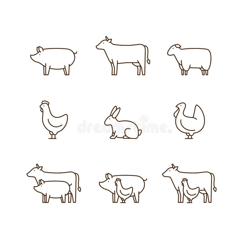 Vieh-Entwurfsikonensatz Schwein, Kuh, Lamm, Huhn, Truthahn, r vektor abbildung
