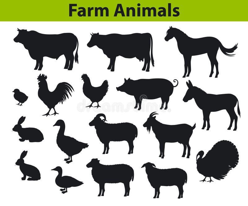 Vieh-Schattenbildsammlung stock abbildung