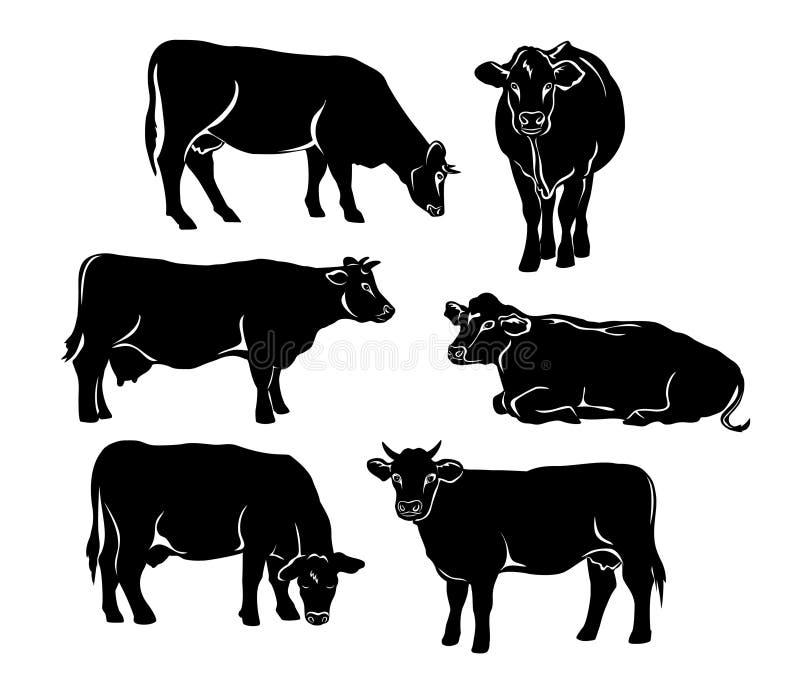 Vieh silhouettiert Satz in der schwarzen Farbe stock abbildung
