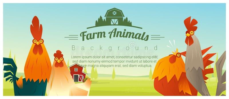 Vieh und ländlicher Landschaftshintergrund mit Hühnern vektor abbildung