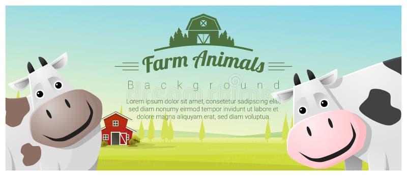 Vieh und ländlicher Landschaftshintergrund mit Kühen lizenzfreie abbildung
