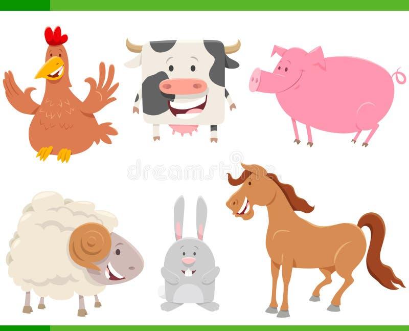 Viehcharaktere der Karikatur gl?ckliche eingestellt lizenzfreie abbildung