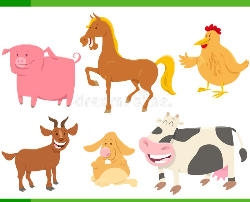 Viehcharaktere der Karikatur lustige eingestellt vektor abbildung