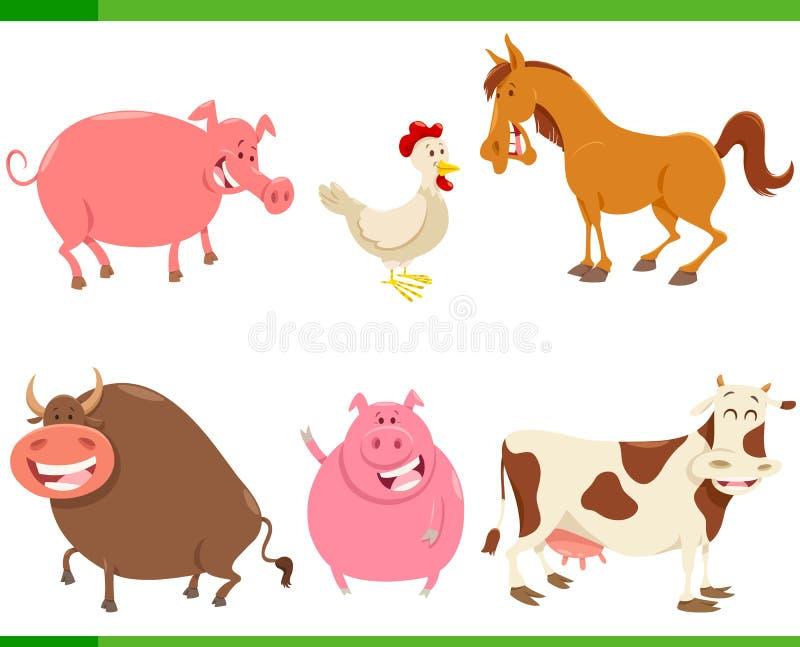 Viehcharaktere der Karikatur nette eingestellt lizenzfreie abbildung