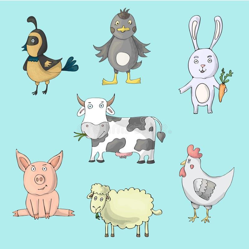 Viehsammlung mit Kuh, Henne, Schwein, Schaf, Enten, Kaninchen, Wachtel Lokalisierte Charaktere der Karikatur Vektor lizenzfreie abbildung
