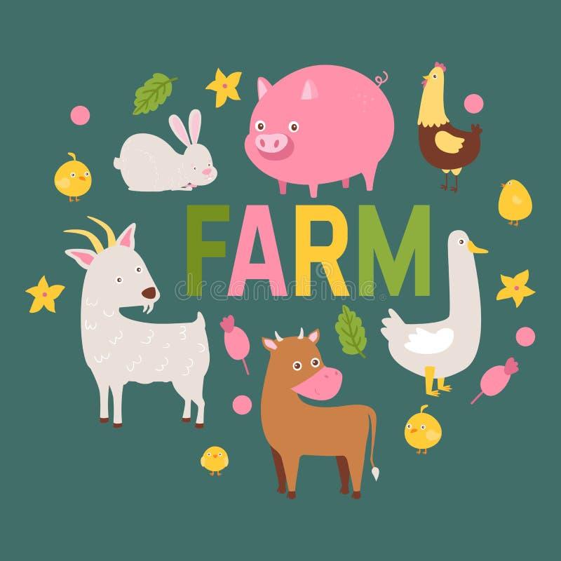 Viehvektor stellte inländische Landwirtschaftscharaktere Kuh und Schafschweinpferd und Ziegenhaltertierhintergrund ein lizenzfreie abbildung