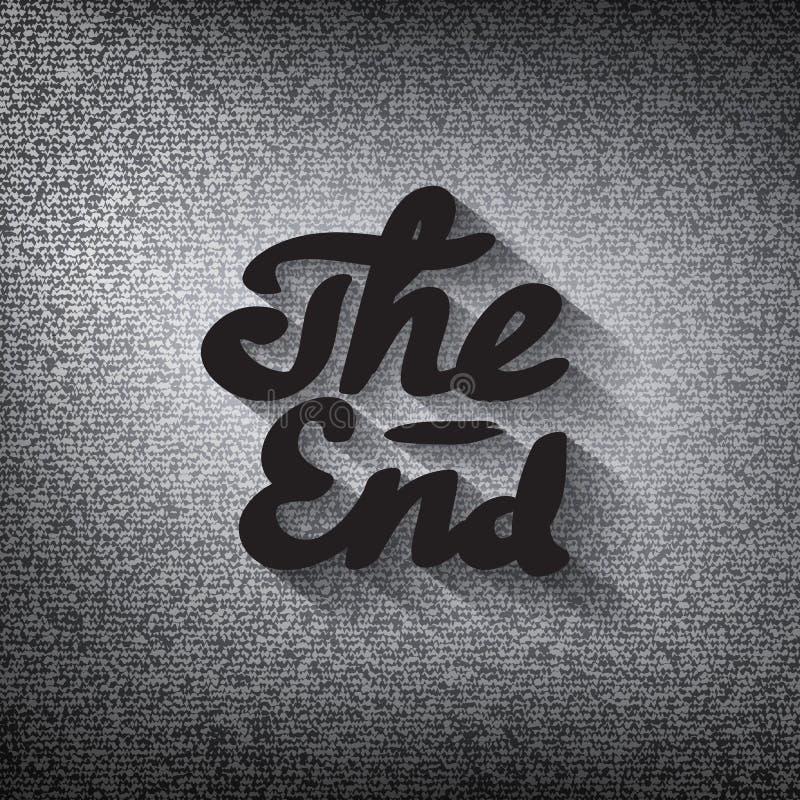 Vieil écran de fin de film, noir stylisé le lettrage d'extrémité illustration de vecteur