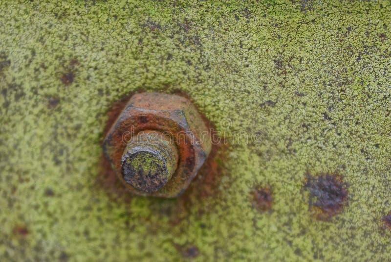 Vieil écrou sur un boulon rouillé sur un mur vert de fer photo stock