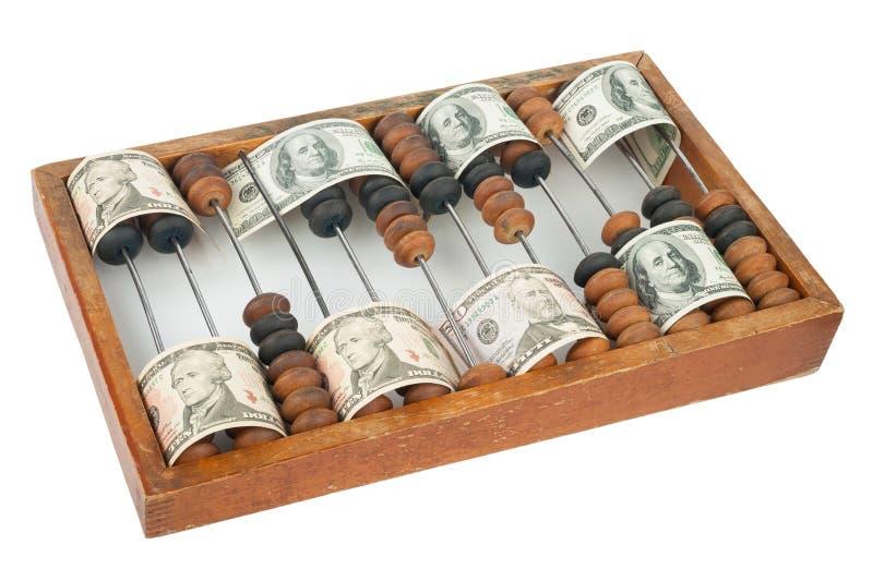 Vieil abaque en bois avec des dollars images libres de droits