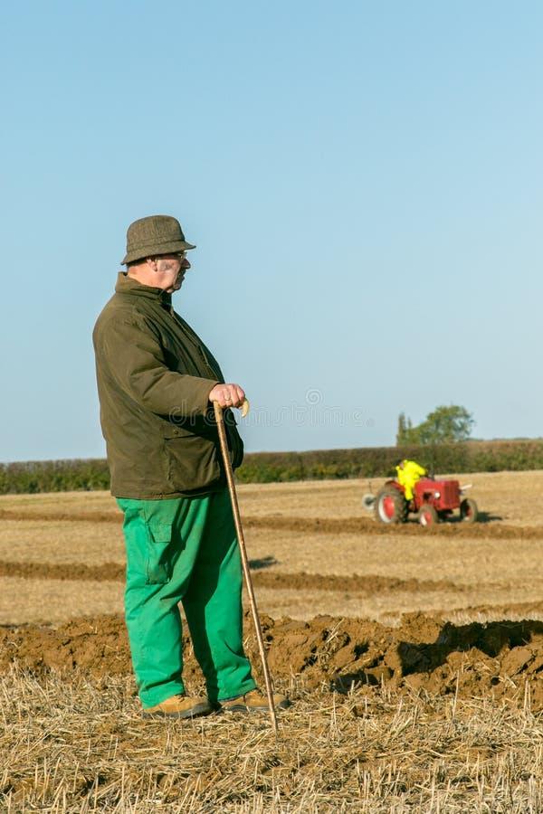 Vieil agriculteur avec le bâton et le tracteur au match de labourage image stock