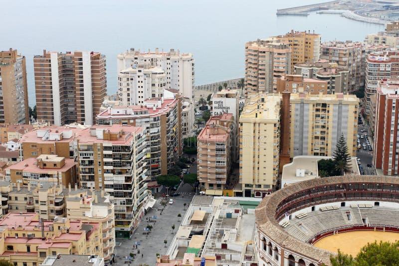 Vieil anneau de Taureau à Malaga, Espagne images libres de droits