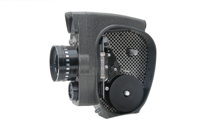 Vieil appareil-photo de film avec la fin de lentille vers le haut photos stock