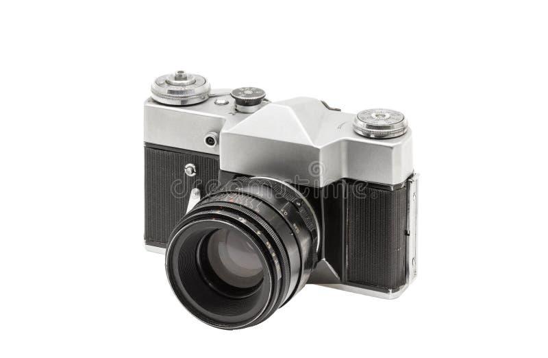 Vieil appareil-photo de film avec la lentille, d'isolement sur le fond blanc images stock