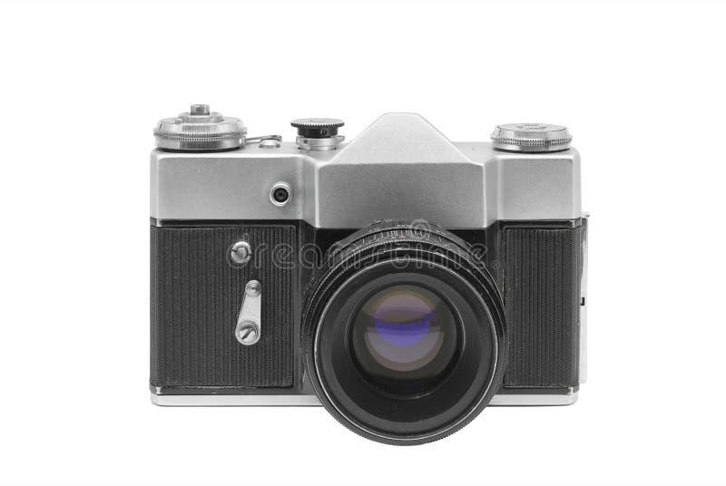 Vieil appareil-photo de film avec la lentille, d'isolement sur le fond blanc photo stock