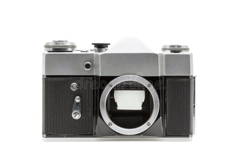Vieil appareil-photo de film sans lentille d'isolement sur le fond blanc images libres de droits