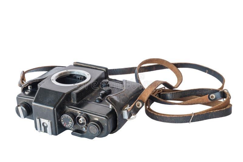 Vieil appareil-photo de noir de vintage dans le cas en cuir photos libres de droits