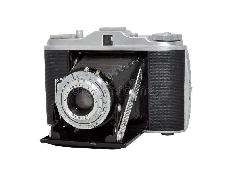 Vieil appareil-photo de photo de film - télémètre, lentille se pliante images libres de droits