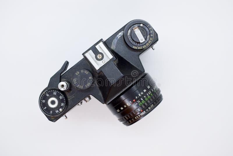 Vieil appareil-photo de vintage d'en haut d'isolement sur le fond blanc image stock