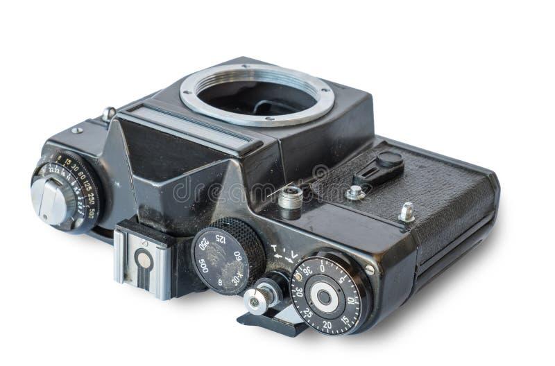 Vieil appareil-photo en métal de noir de vintage photographie stock libre de droits