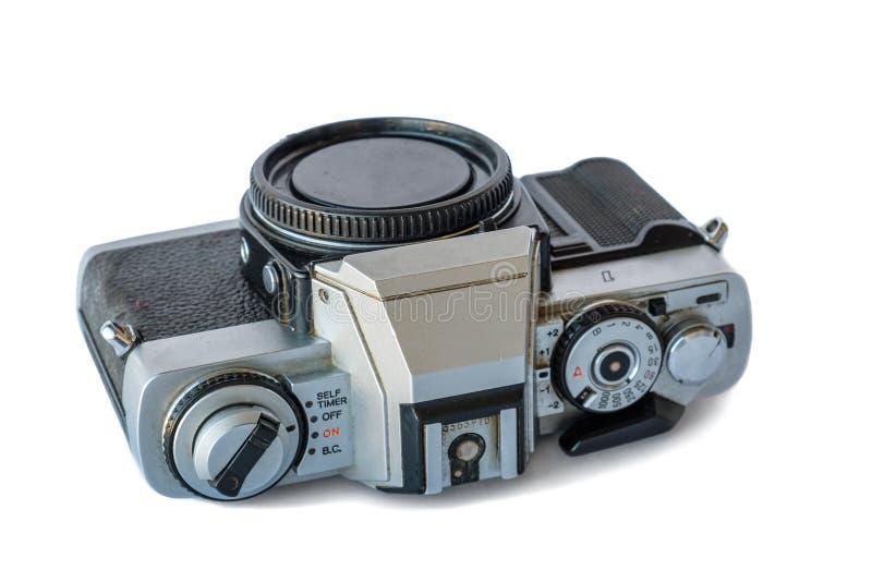 Vieil appareil-photo sur le fond blanc images stock