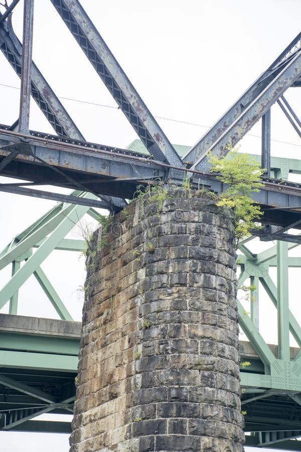 Vieil appui en pierre de pont images libres de droits