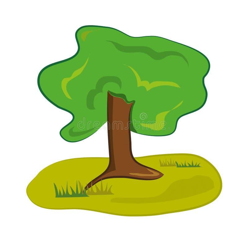 Vieil arbre de vert forêt illustration de vecteur