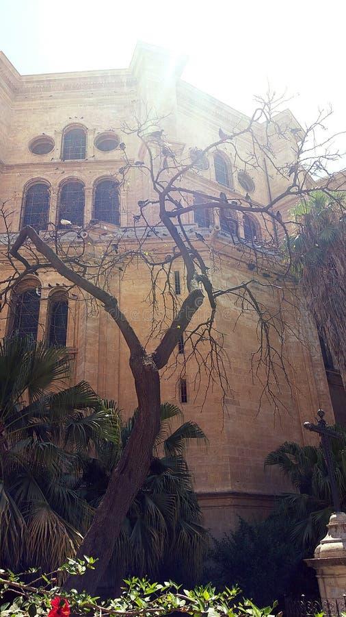 Vieil arbre et vieille église photographie stock libre de droits