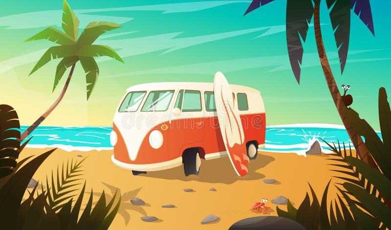 Vieil autobus sur la plage avec la planche de surf illustration stock