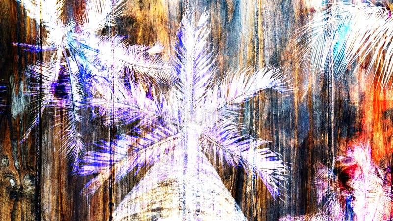 Vieil effet en bois texturisé avec les palmiers blancs photo stock