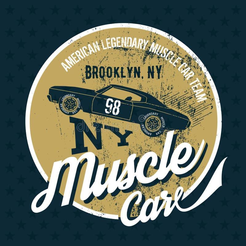 Vieil Effet Grunge De Voiture Americaine De Muscle Illustration De