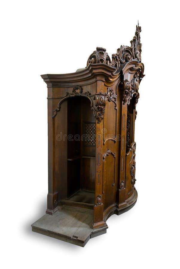 vieil en bois confessionnel images libres de droits