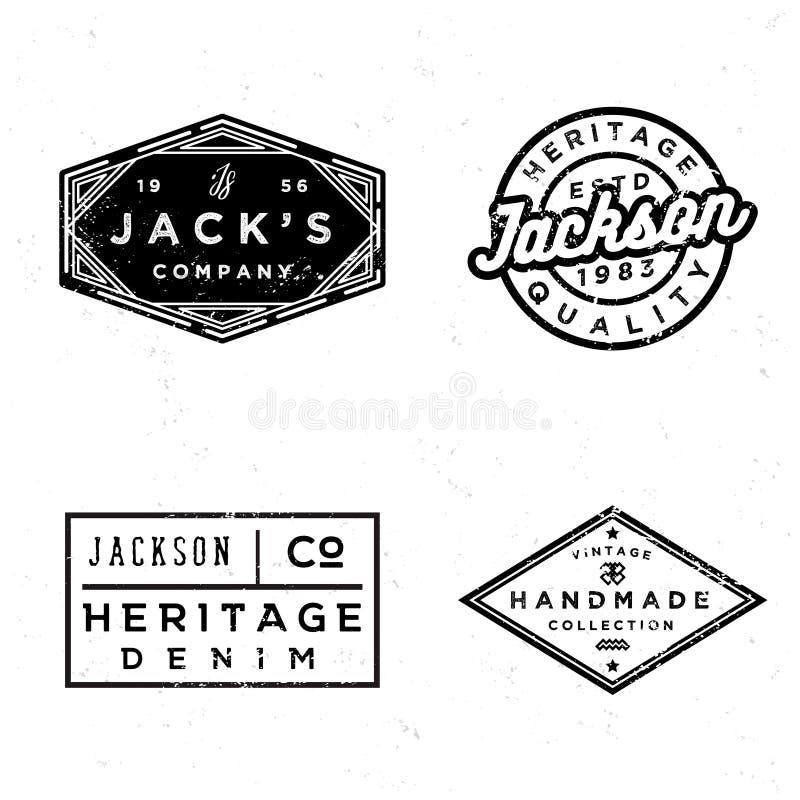 Vieil ensemble de conception de labels de vintage Copies pour le T-shirt illustration stock
