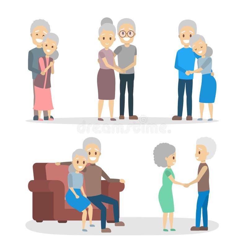 Vieil ensemble de couples Caractère plus âgé mignon heureux ensemble illustration stock