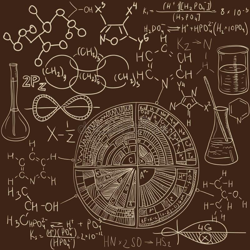 Vieil ensemble de modèle de laboratoire de chimie Fond de vecteur de cru illustration libre de droits