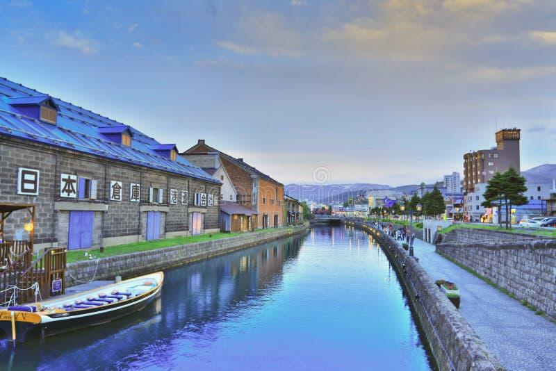 Vieil entrepôt le long de canal d'Otaru, point de repère célèbre image libre de droits