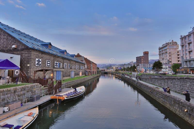 Vieil entrepôt le long de canal d'Otaru, point de repère célèbre images stock