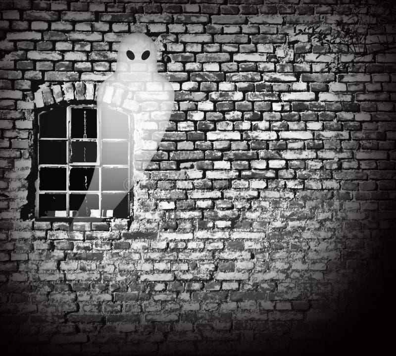 Vieil entrepôt rampant avec le fantôme illustration stock