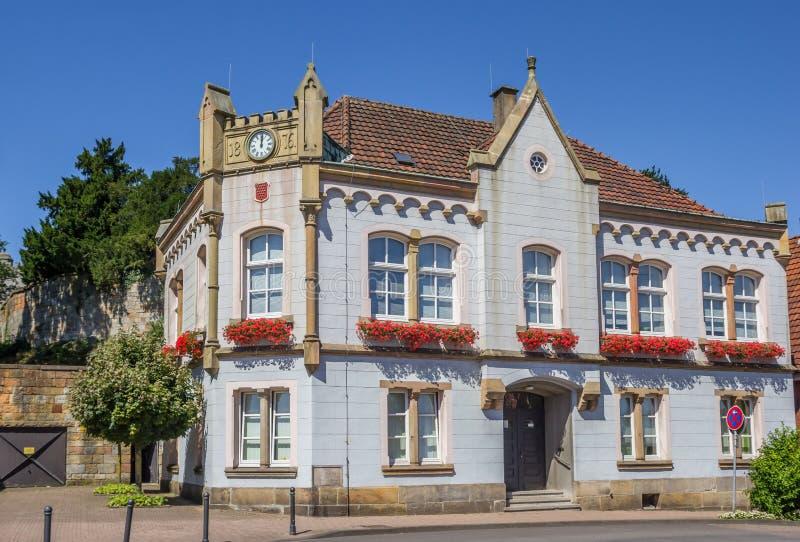 Vieil hôtel de ville au centre historique de mauvais Bentheim photographie stock