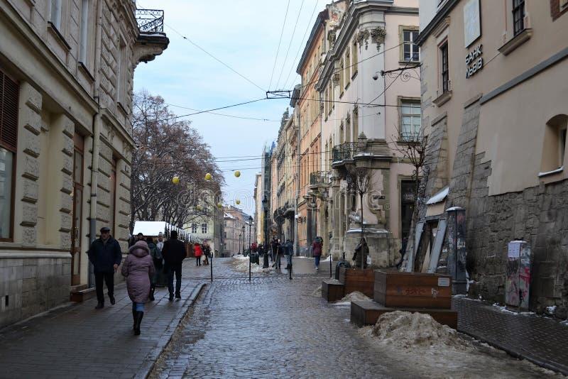 Vieil hiver de ville de Lviv Ukraine photo stock