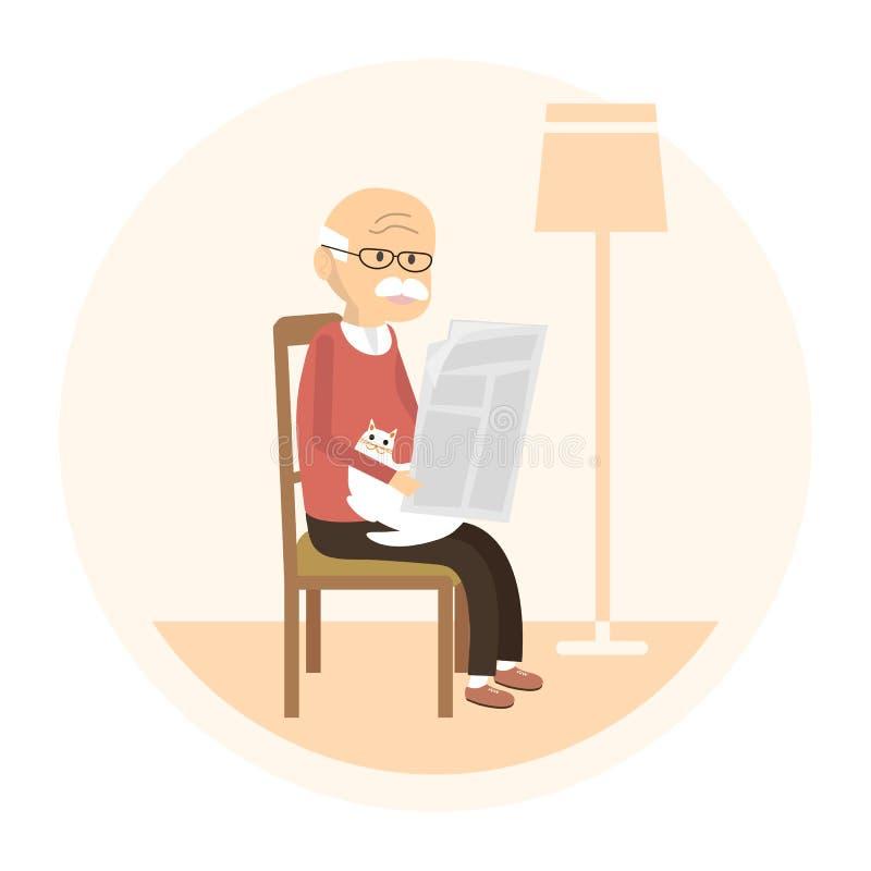 Vieil homme affichant un journal illustration stock