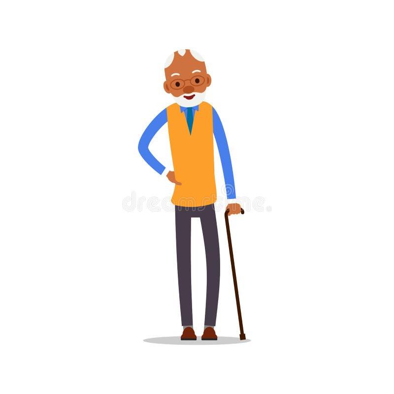 Vieil homme africain attirant Un aîné noir plus âgé s'est retiré Position et sourire première génération mignons Mode de vie trad illustration stock