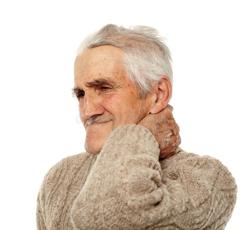 Vieil homme avec douleur cervicale photographie stock