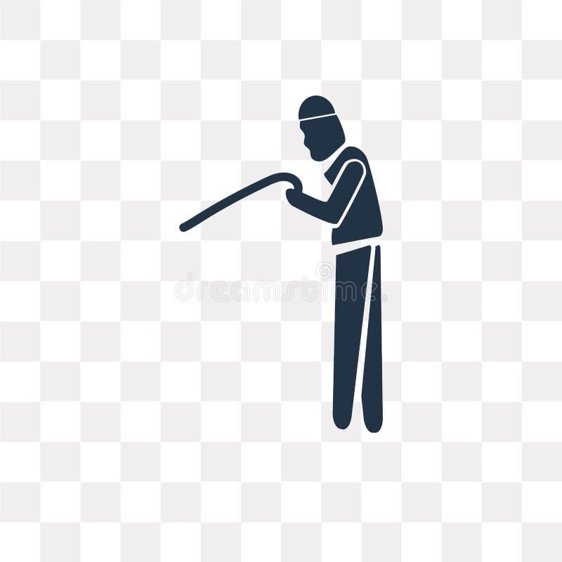 Vieil homme avec l'icône de vecteur de canne d'isolement sur le fond transparent illustration stock