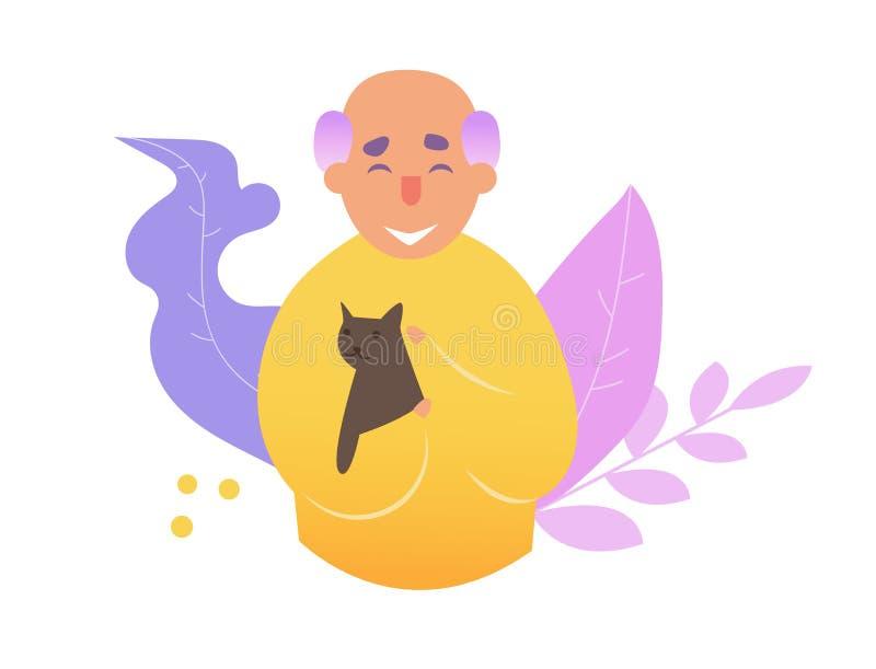 Vieil homme avec le vecteur de chat cartoon Art d'isolement sur le fond blanc plat illustration de vecteur
