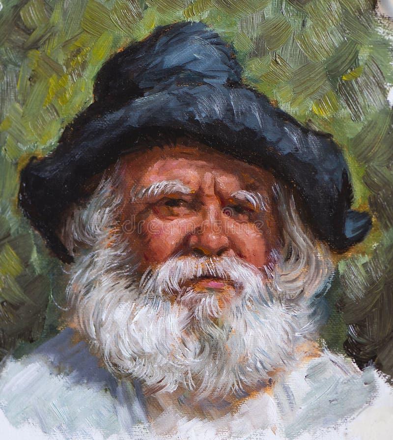 Vieil homme avec une barbe blanche peinte sur la toile illustration stock