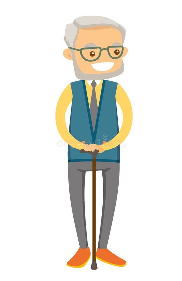 Vieil homme blanc caucasien dans des lunettes avec une canne illustration stock